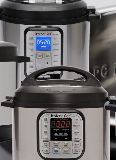 Four of the Instant Pot 8 Quart models of the six available