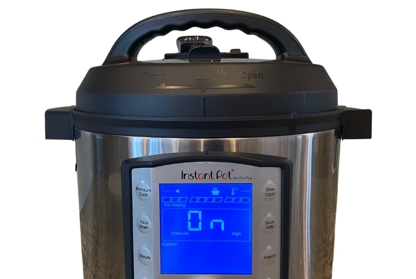 Close up of a Duo Evo Plus to compares the differences between the Instant Pot Duo Evo Plus vs Duo