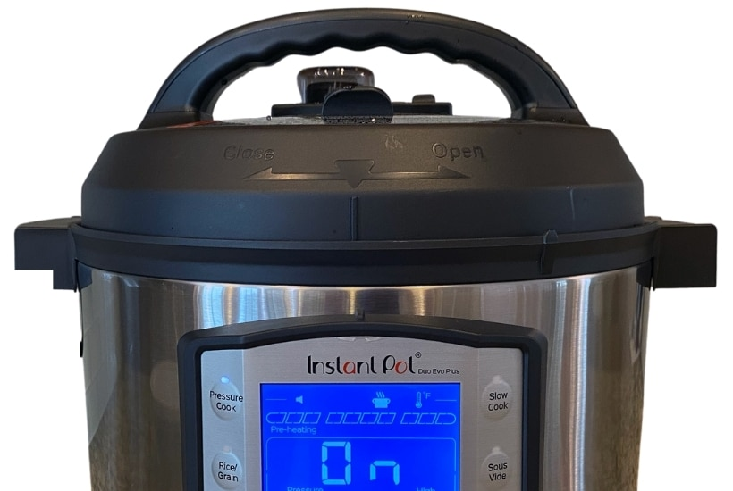Close up of a Duo Evo Plus to compares the differences between the Instant Pot Duo Evo Plus vs Ultra